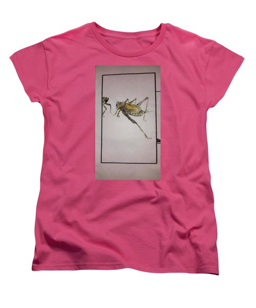 Women's T-Shirt (Standard Cut) featuring the painting Bugs And Blooms Album by Debbi Saccomanno Chan