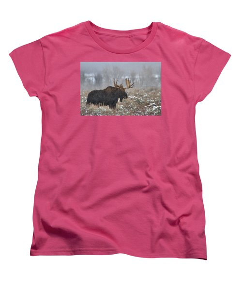 Women's T-Shirt (Standard Cut) featuring the photograph Bull Moose In The Fog by Adam Jewell