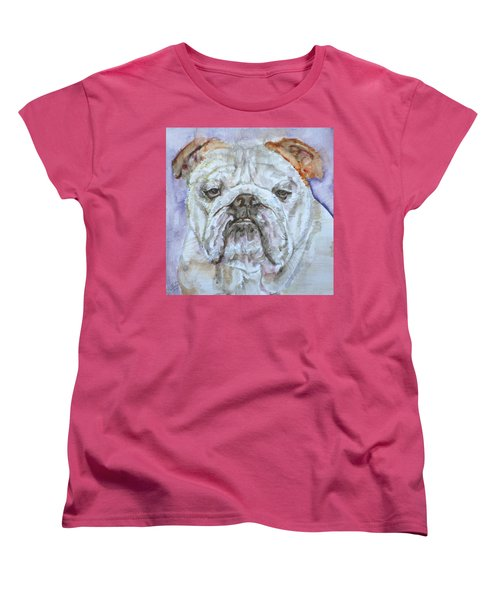 Women's T-Shirt (Standard Cut) featuring the painting Bulldog - Watercolor Portrait.5 by Fabrizio Cassetta