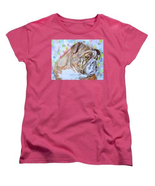 Women's T-Shirt (Standard Cut) featuring the painting Bulldog - Watercolor Portrait.7 by Fabrizio Cassetta