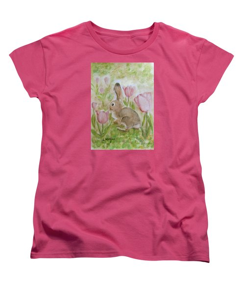 Bunny In The Tulips Women's T-Shirt (Standard Cut) by Laurie Morgan