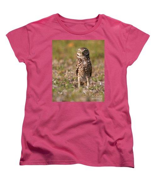 Women's T-Shirt (Standard Cut) featuring the photograph Burrowing Owl Standing Tall by Myrna Bradshaw