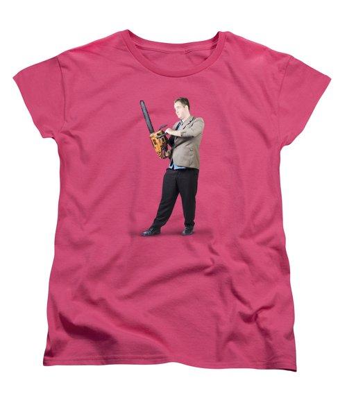 Businessman Holding Portable Chainsaw Women's T-Shirt (Standard Cut) by Jorgo Photography - Wall Art Gallery