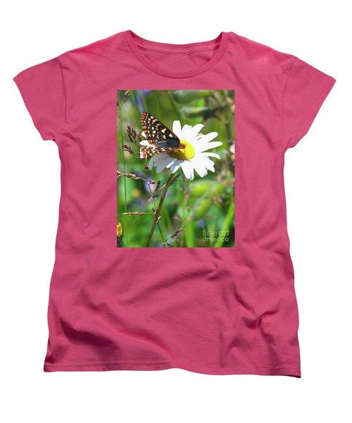 Butterfly On A Wild Daisy Women's T-Shirt (Standard Cut) by Ansel Price