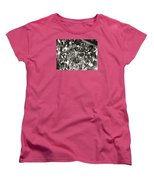 Women's T-Shirt (Standard Cut) featuring the photograph Bw Cobweb Tree by Megan Dirsa-DuBois