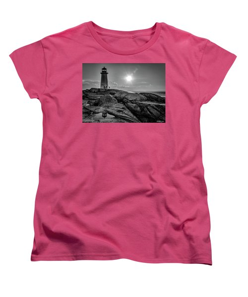 Bw Of Iconic Lighthouse At Peggys Cove  Women's T-Shirt (Standard Cut) by Ken Morris