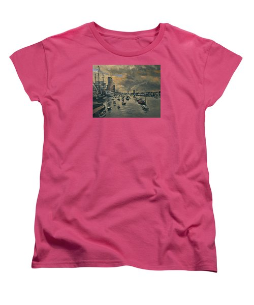 Women's T-Shirt (Standard Cut) featuring the painting Bye Bye Sail Amsterdam by Nop Briex