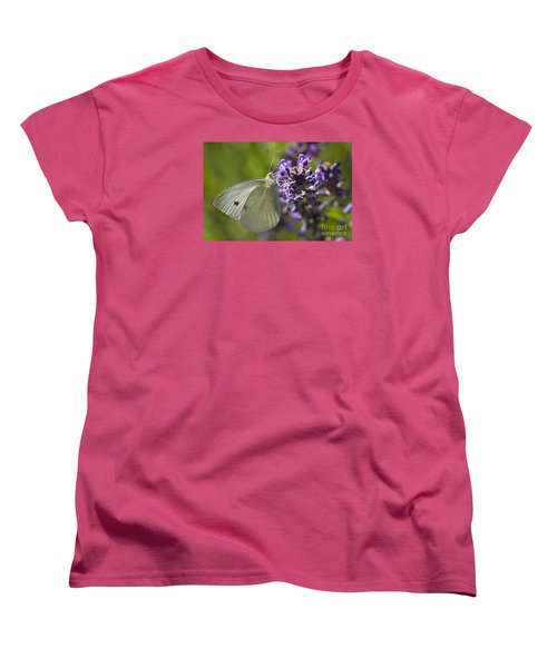 Women's T-Shirt (Standard Cut) featuring the photograph Cabbage White Butterfly by Inge Riis McDonald