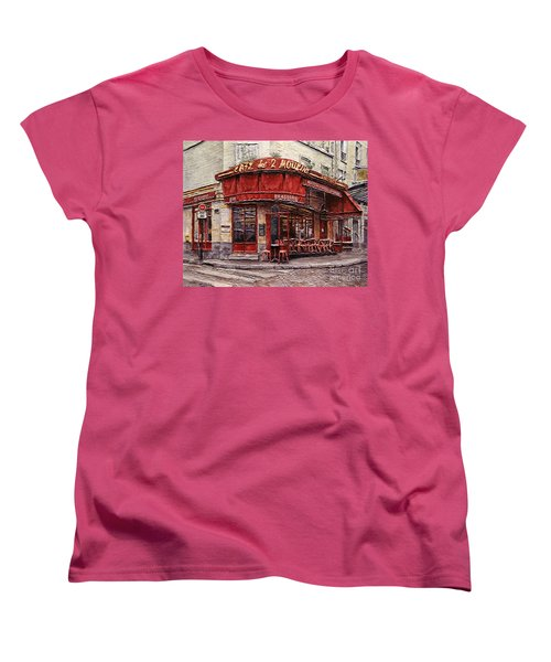 Cafe Des 2 Moulins- Paris Women's T-Shirt (Standard Cut) by Joey Agbayani