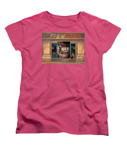 Women's T-Shirt (Standard Cut) featuring the painting Cafeteria by Mojo Mendiola
