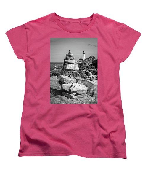 Cairn And Lighthouse  -56052-bw Women's T-Shirt (Standard Cut) by John Bald