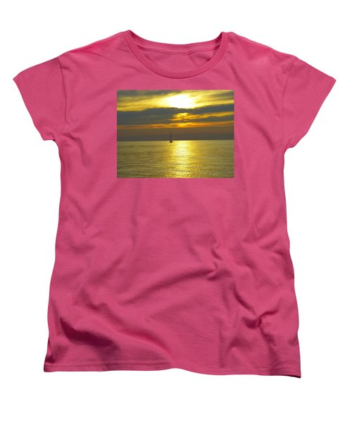 Calm Before Sunset Over Lake Erie Women's T-Shirt (Standard Cut) by Donald C Morgan