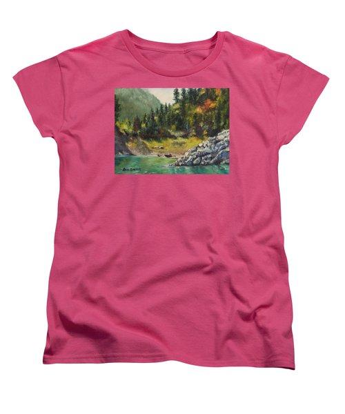 Camping On The Lake Shore Women's T-Shirt (Standard Cut) by Lori Brackett