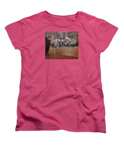 Women's T-Shirt (Standard Cut) featuring the painting Can Can In The Moulin Rouge Paris by Nop Briex