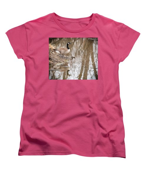 Women's T-Shirt (Standard Cut) featuring the photograph Canada Geese Reflection by Edward Peterson