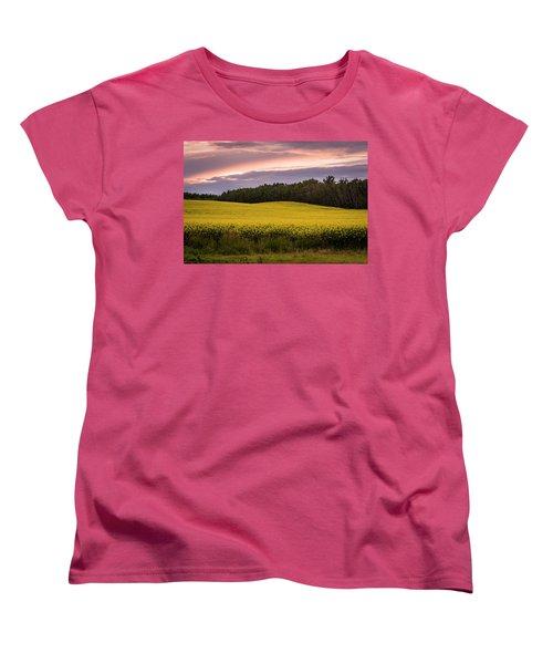 Women's T-Shirt (Standard Cut) featuring the photograph Canola Crop Sunset by Darcy Michaelchuk