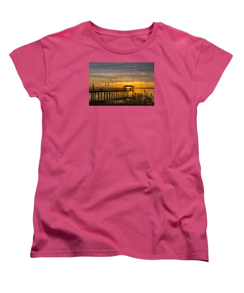 Women's T-Shirt (Standard Cut) featuring the digital art Cape Fear Sunset Fort Fisher by Phil Mancuso