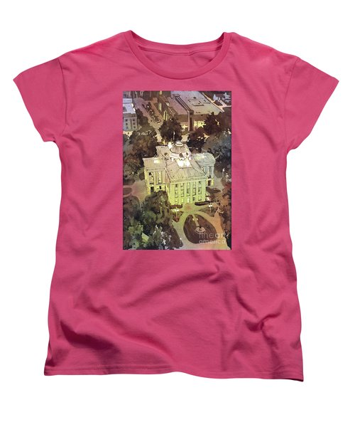 Women's T-Shirt (Standard Cut) featuring the painting Capitol Of Stupid- Raleigh, Nc by Ryan Fox