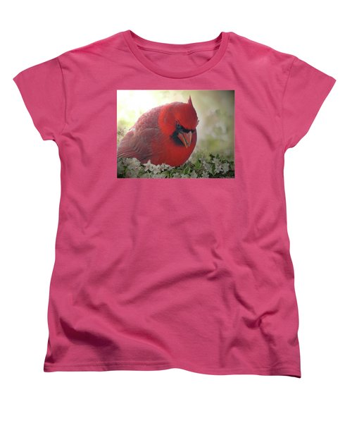 Women's T-Shirt (Standard Cut) featuring the photograph Cardinal In Flowers by Debbie Portwood