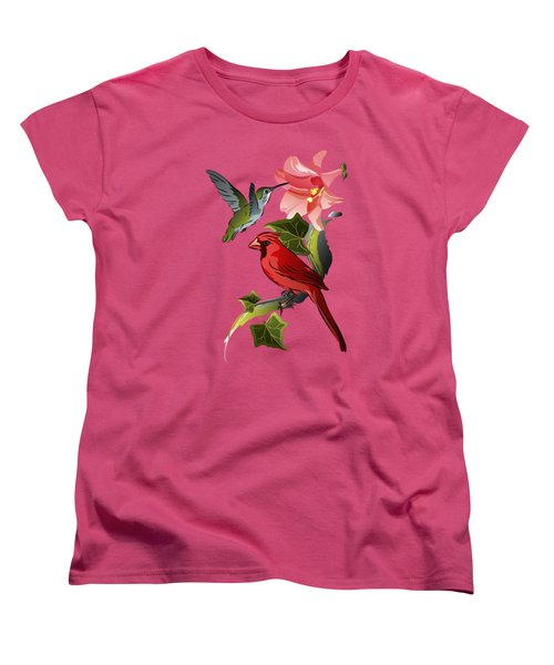 Cardinal On Ivy Branch With Hummingbird And Pink Lily Women's T-Shirt (Standard Cut) by MM Anderson