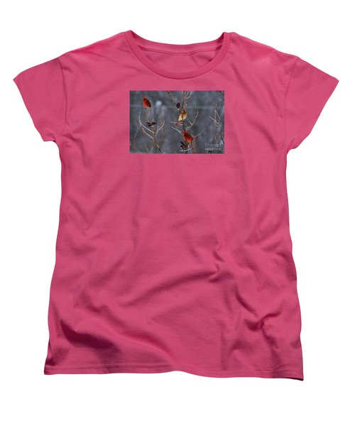 Women's T-Shirt (Standard Cut) featuring the photograph Cardinal Trio by Mark McReynolds