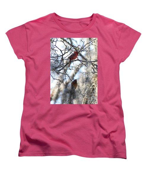 Cardinals In Mossy Tree Women's T-Shirt (Standard Cut)