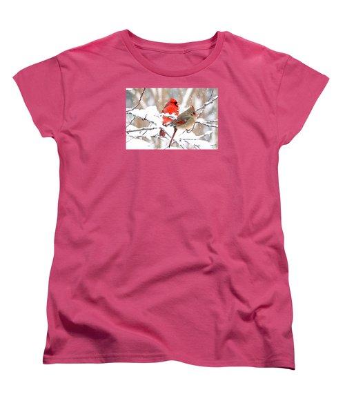 Cardinals In The Winter Women's T-Shirt (Standard Cut) by Trina Ansel