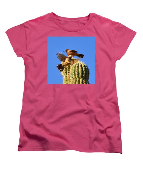 Women's T-Shirt (Standard Cut) featuring the photograph Careful Landing by Marilyn Smith
