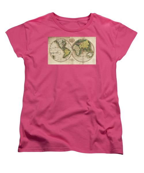 Women's T-Shirt (Standard Cut) featuring the photograph Carey's Map Of The World  1795 by Daniel Hagerman