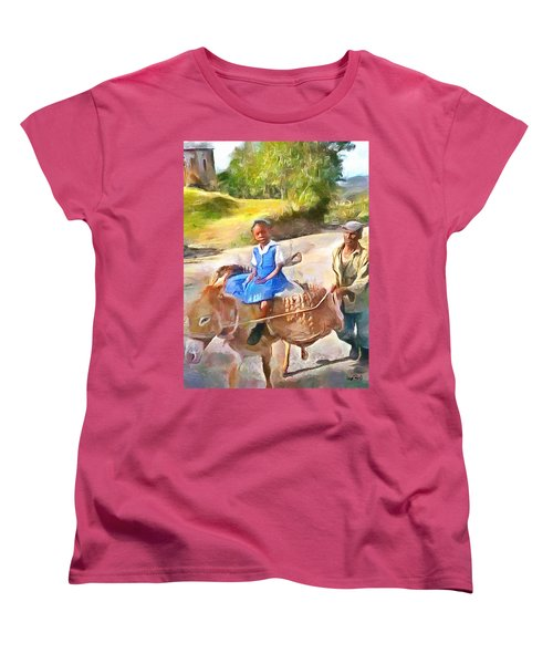 Caribbean Scenes - School In De Country Women's T-Shirt (Standard Cut) by Wayne Pascall