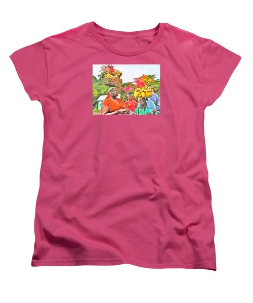 Women's T-Shirt (Standard Cut) featuring the painting Caribbean Scenes - Headstrong Women by Wayne Pascall