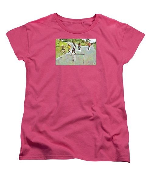 Women's T-Shirt (Standard Cut) featuring the painting Caribbean Scenes - Small Goal In De Street by Wayne Pascall