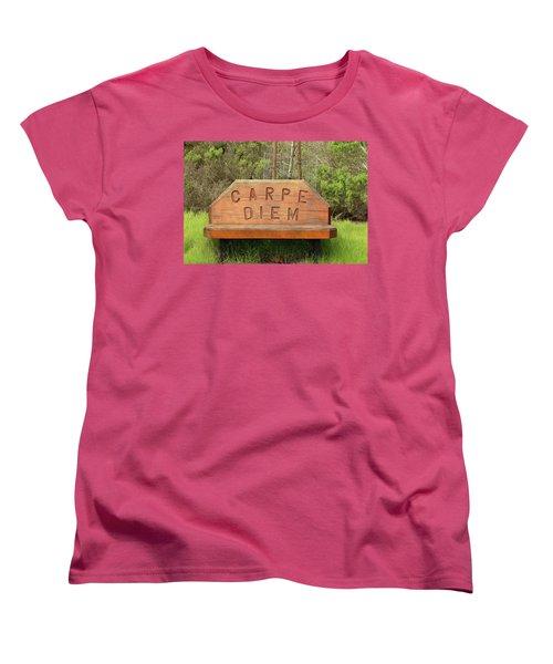 Women's T-Shirt (Standard Cut) featuring the photograph Carpe Diem Bench by Art Block Collections
