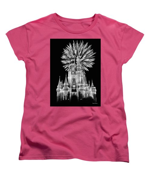 Castle With Fireworks In Black And White Walt Disney World Mp Women's T-Shirt (Standard Cut) by Thomas Woolworth