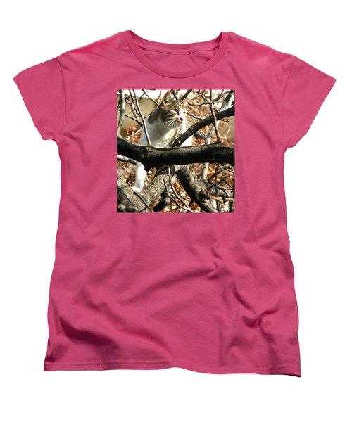 Cat Hunting Bird Women's T-Shirt (Standard Cut) by Judi Saunders