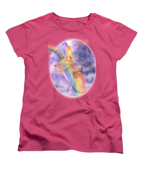 Women's T-Shirt (Standard Cut) featuring the mixed media Cat In The Dreaming Hat by Carol Cavalaris