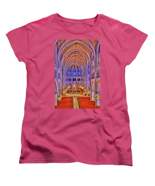 Women's T-Shirt (Standard Cut) featuring the photograph Cathedral Basilica Of The Sacred Heart Newark Nj II by Susan Candelario