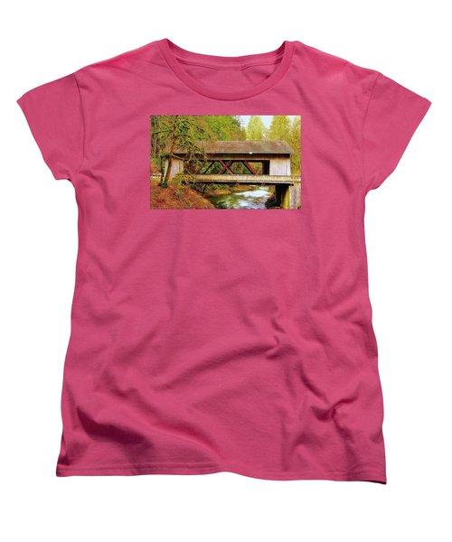 Cedar Creek Grist Mill Covered Bridge Women's T-Shirt (Standard Cut) by Steve Warnstaff