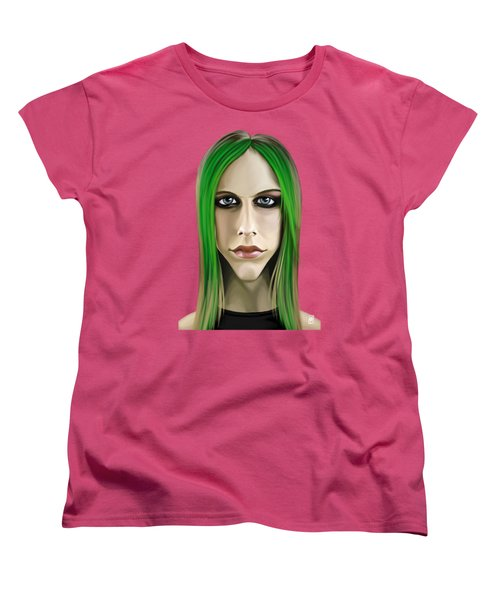Women's T-Shirt (Standard Cut) featuring the drawing Celebrity Sunday - Avril Lavigne by Rob Snow