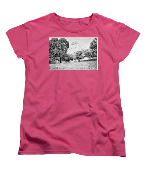 Women's T-Shirt (Standard Cut) featuring the photograph Central Park In Black And White by Madeline Ellis