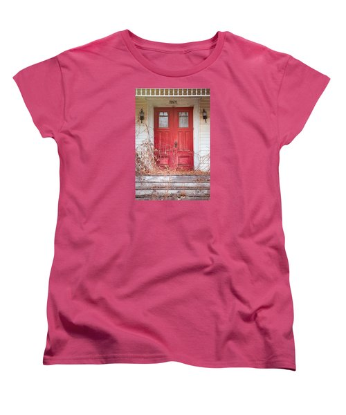 Women's T-Shirt (Standard Cut) featuring the photograph Charming Old Red Doors Portrait by Gary Heller
