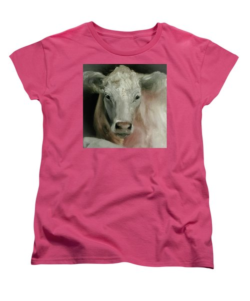 Charolais Cow Painting Women's T-Shirt (Standard Cut) by Michele Carter
