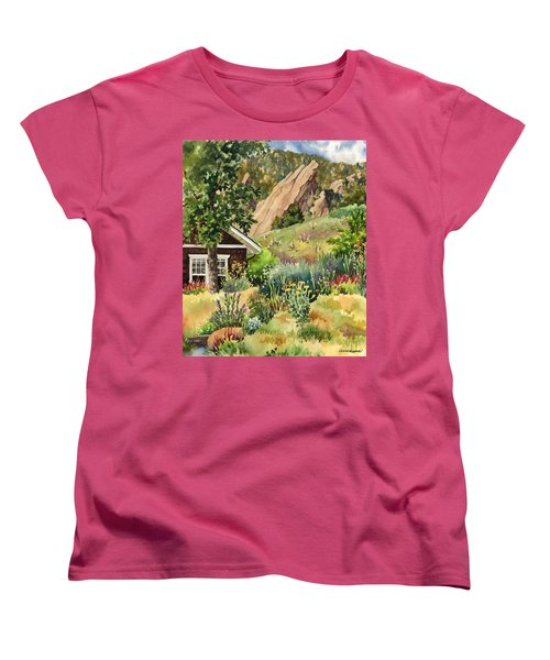 Women's T-Shirt (Standard Cut) featuring the painting Chautauqua Cottage by Anne Gifford