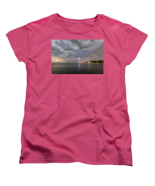 Women's T-Shirt (Standard Cut) featuring the photograph Chesapeake Bay Rainbow Lighting by Jennifer Casey