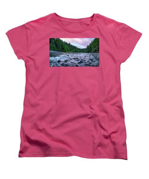 Women's T-Shirt (Standard Cut) featuring the photograph Chetco River Sunset 2 by Leland D Howard