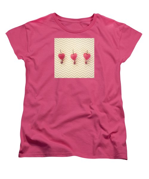 Chevron Hearts Women's T-Shirt (Standard Cut) by Robin Dickinson