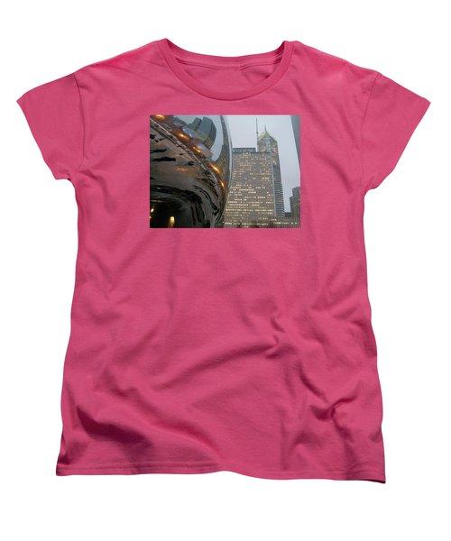 Women's T-Shirt (Standard Cut) featuring the photograph Chicago Cloud Gate. Reflections by Ausra Huntington nee Paulauskaite