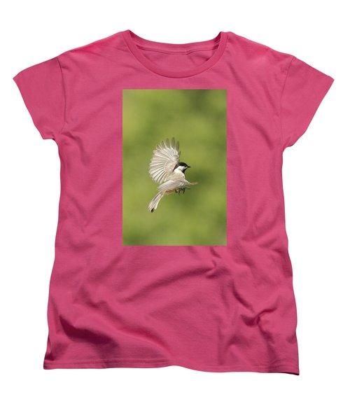 Chickadee In Flight Women's T-Shirt (Standard Cut) by Alan Lenk