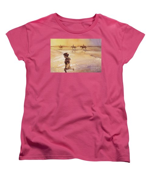 Women's T-Shirt (Standard Cut) featuring the painting Child On Beach- Ocracoke Island, Nc by Ryan Fox