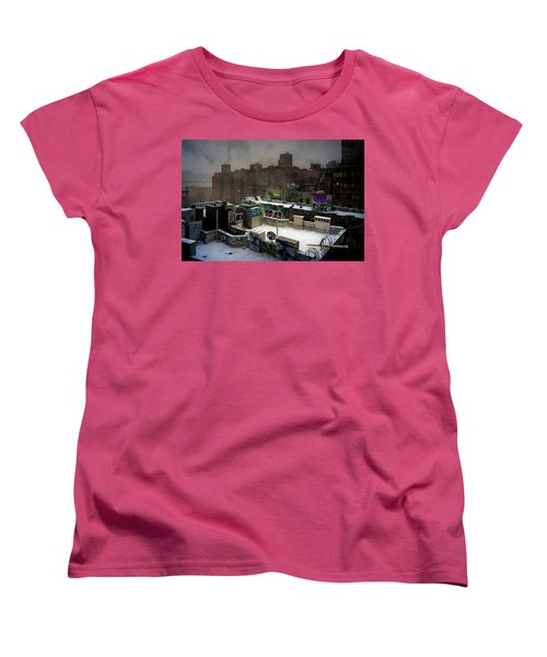 Women's T-Shirt (Standard Cut) featuring the photograph Chinatown Rooftops In Winter by Chris Lord